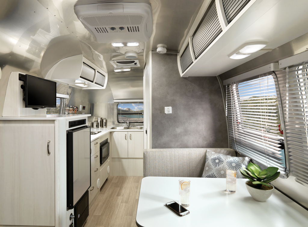 The interior of the Airstream Bambi.
