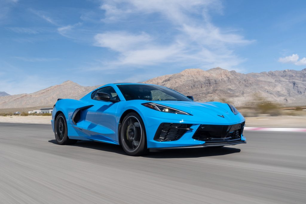 An image of a 2020 Chevy Corvette out on track.