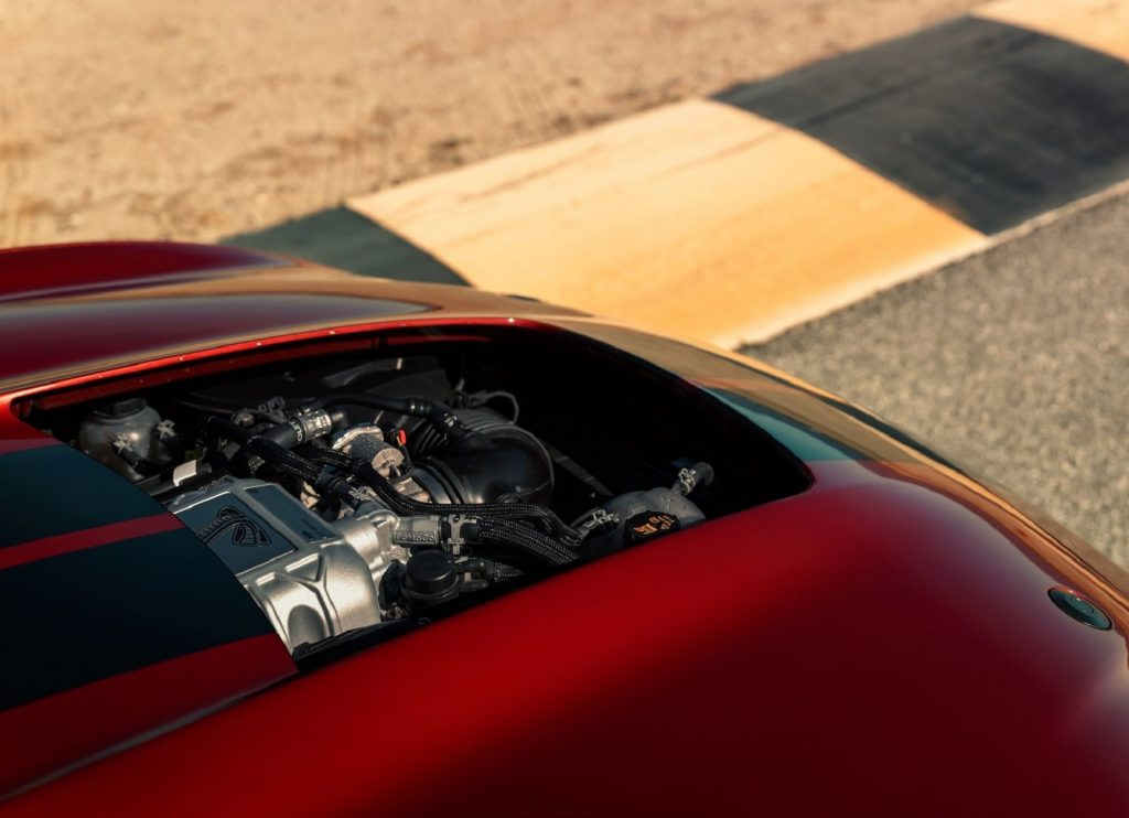 The view of a red 2020 Ford Mustang Shelby GT500's engine bay
