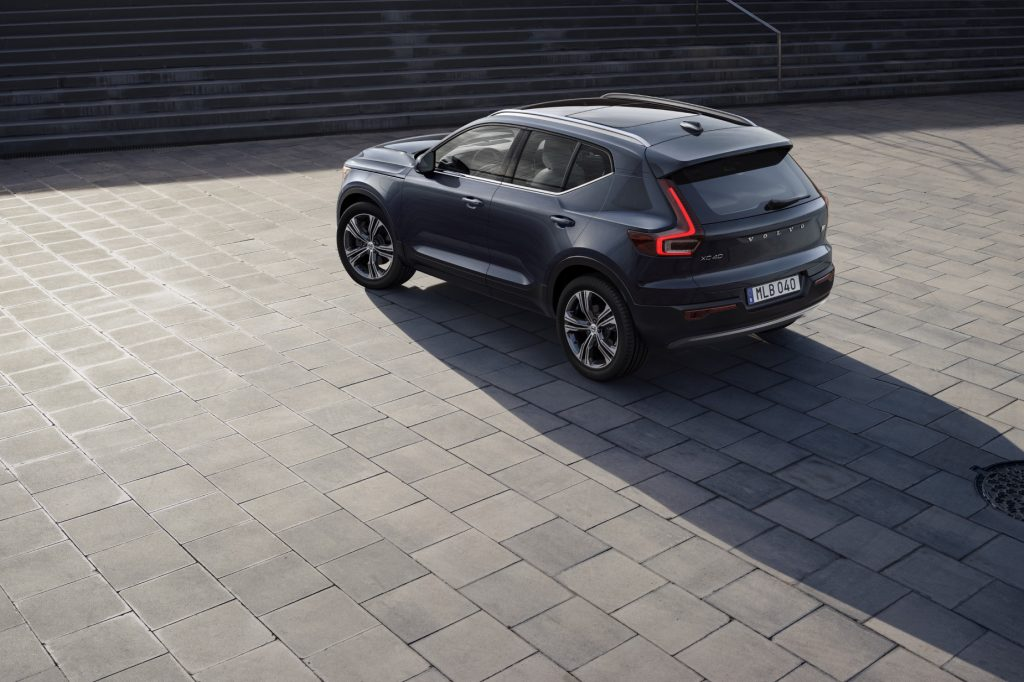 A blue 2020 Volvo XC40 Recharge Inscription parked, facing away