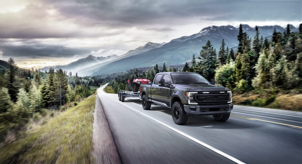 2020 Ford F-150 Roush towing an ATV