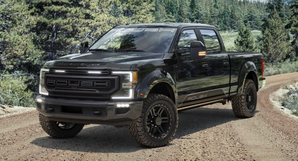 2020 Ford F-250 equipped with the Roush package parked in dirt