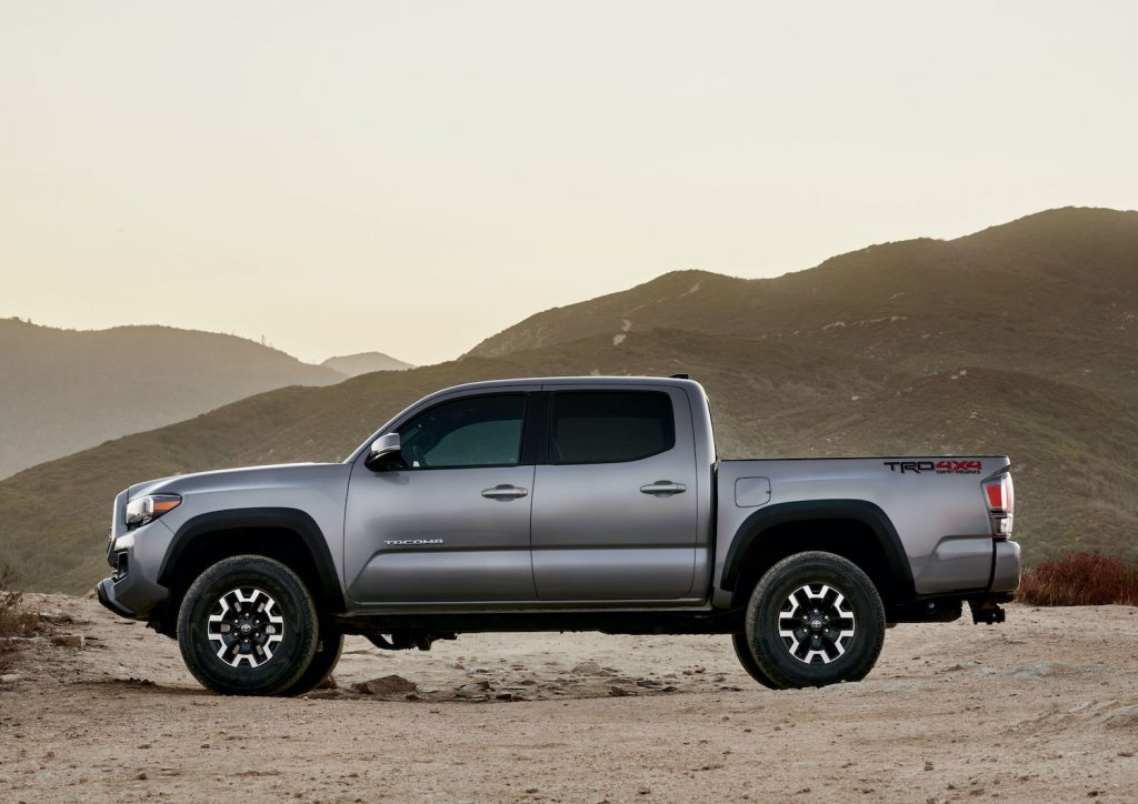 The Toyota Tacoma TRD Off-Road parked in the wilderness
