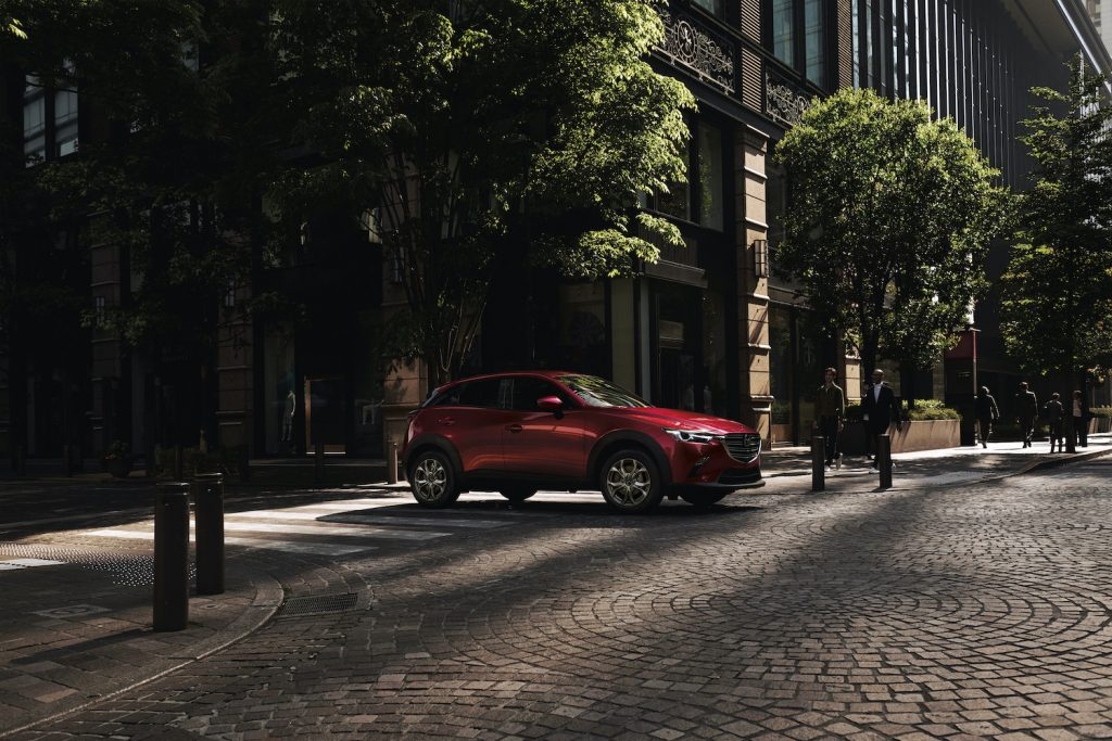 A 2021 Mazda CX-3 parked in the shade