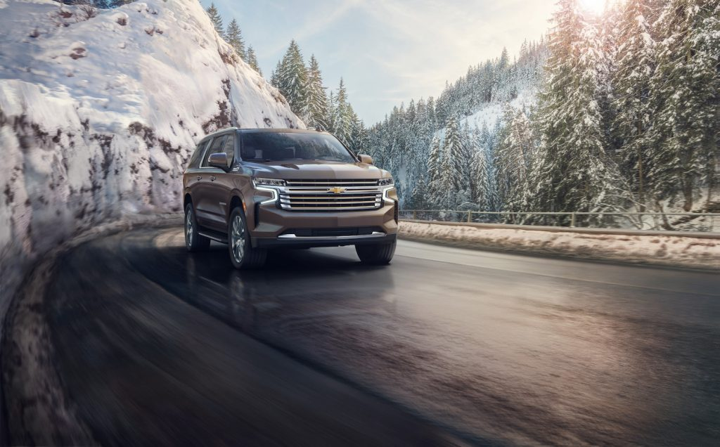 2021 Chevy Suburban driving through snow