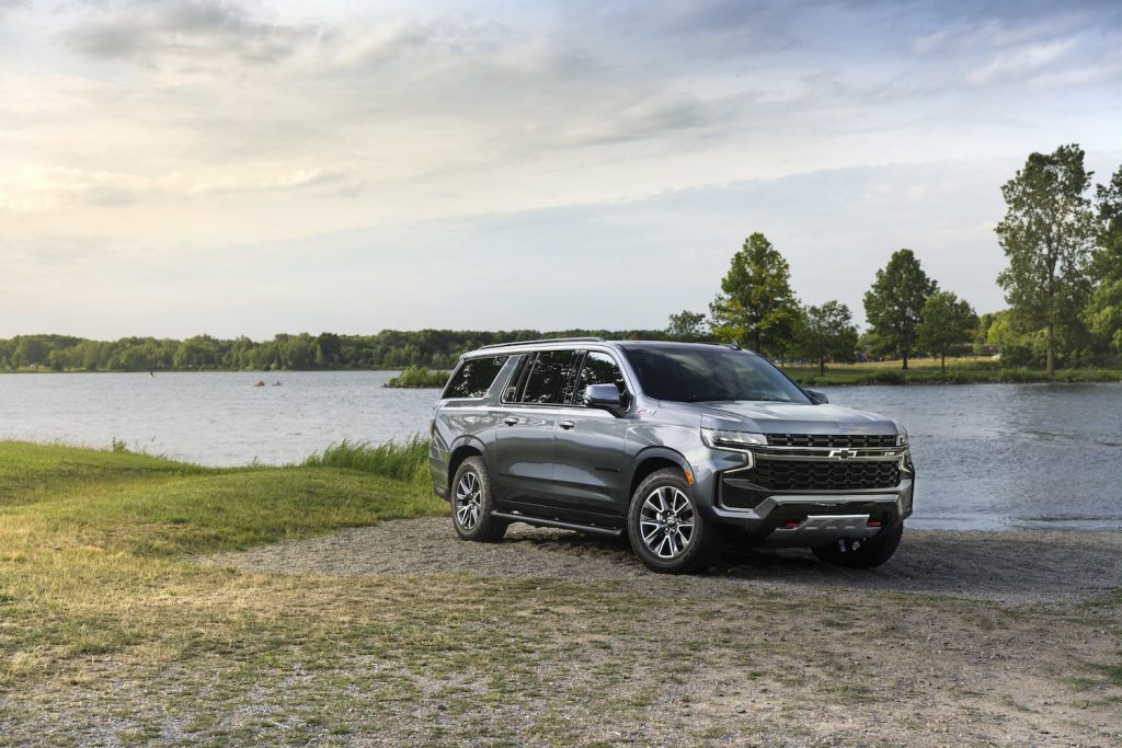 2021 Chevy Suburban parked by the beach