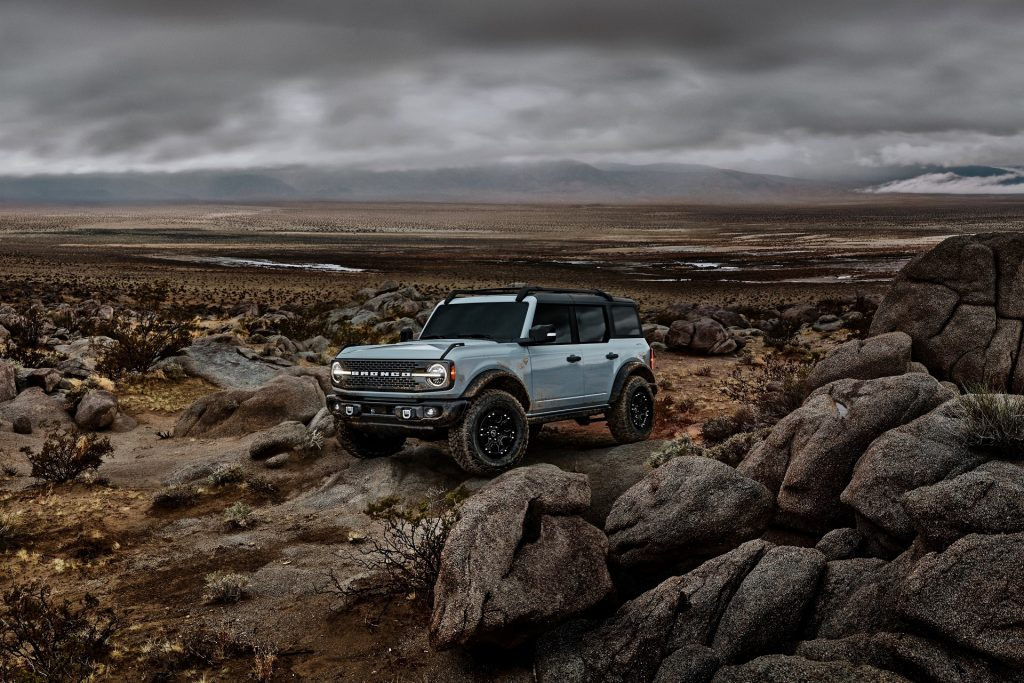 A gray 2021 Ford Bronco Badlands with Sasquatch Package in a desert rock field