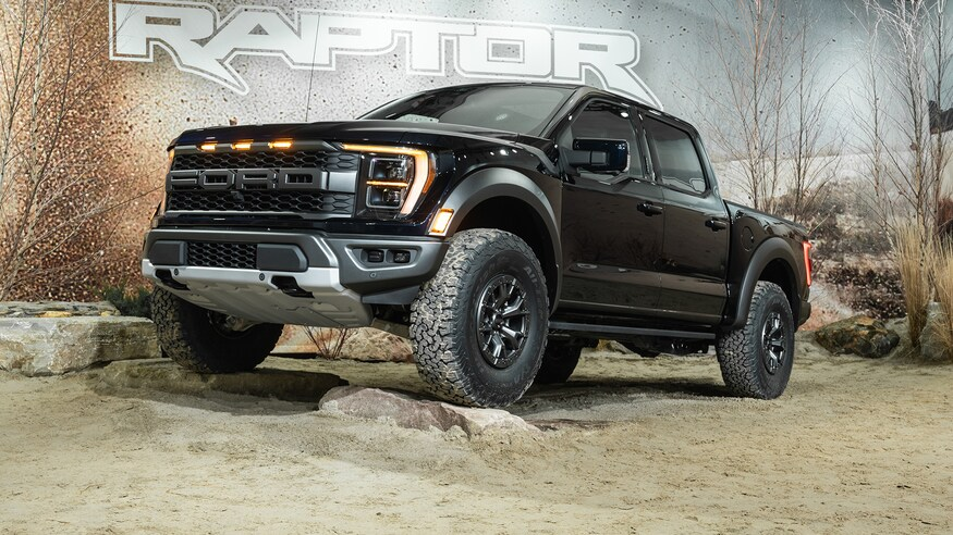 The 2021 Ford Raptor parked on rocks for display