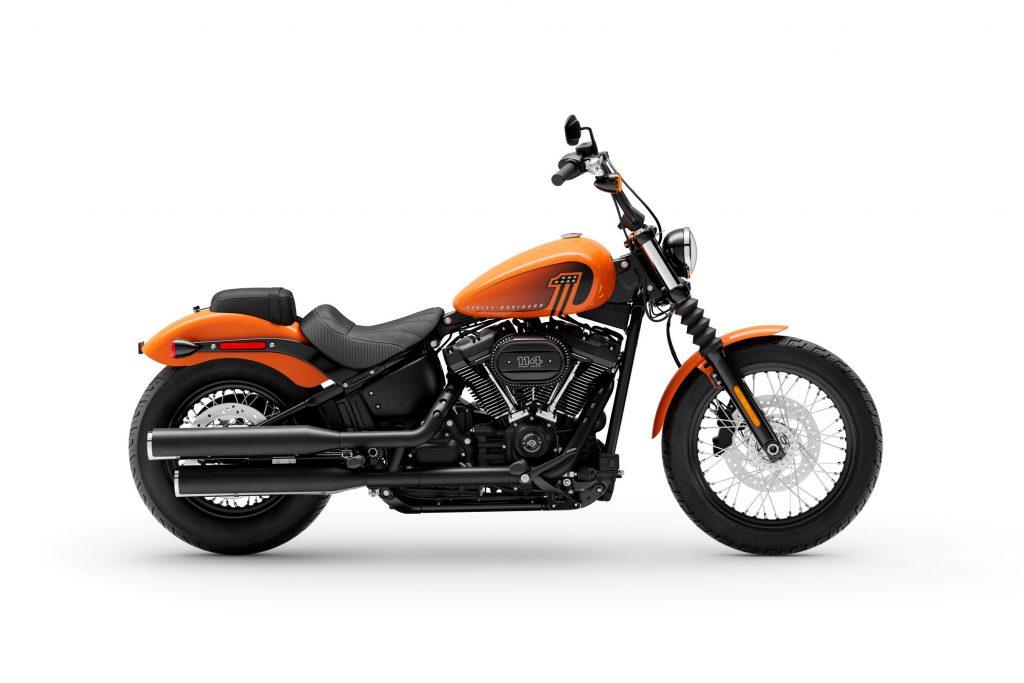 The side view of an orange 2021 Harley-Davidson Street Bob 114