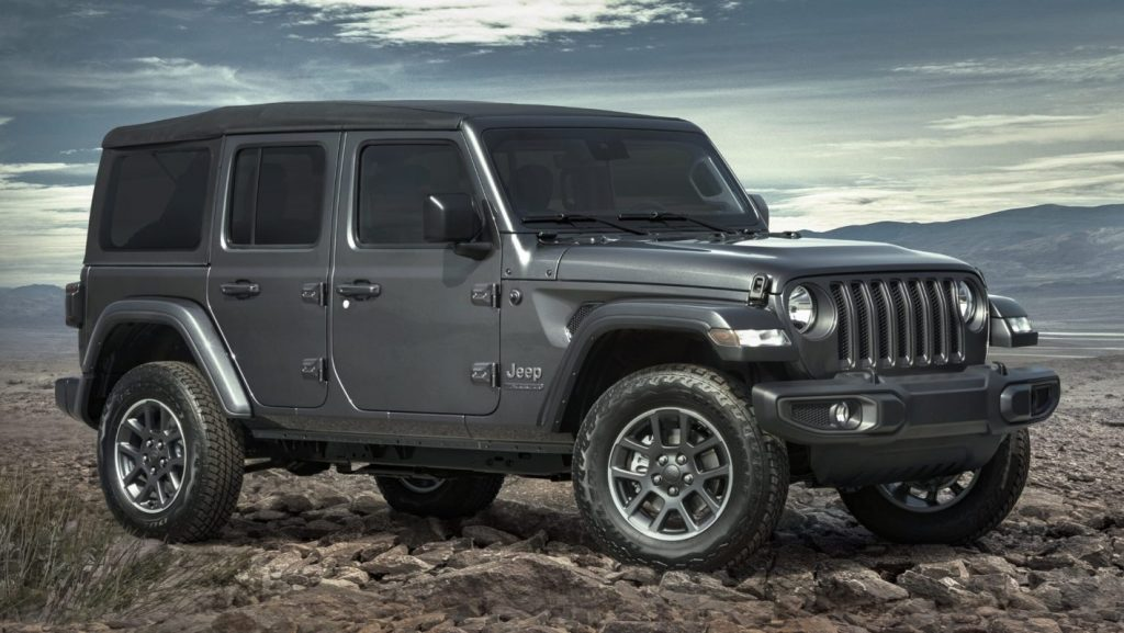 2021 Jeep Wrangler 80th Anniversary Edition parked in the mountains