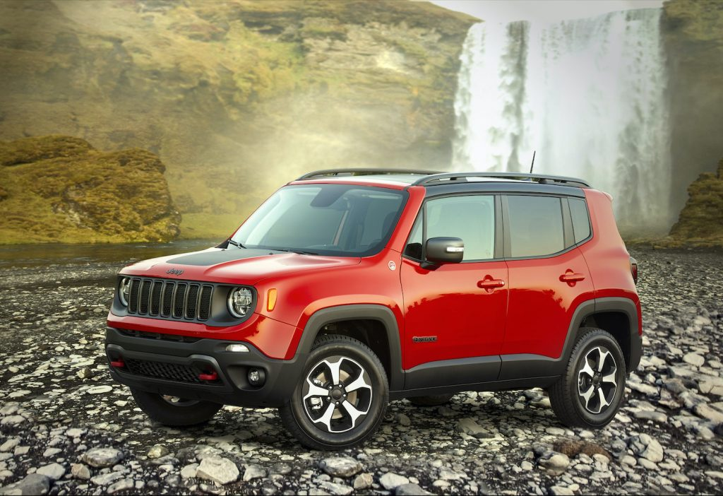 2021 Jeep Renegade Trailhawk by a waterfall