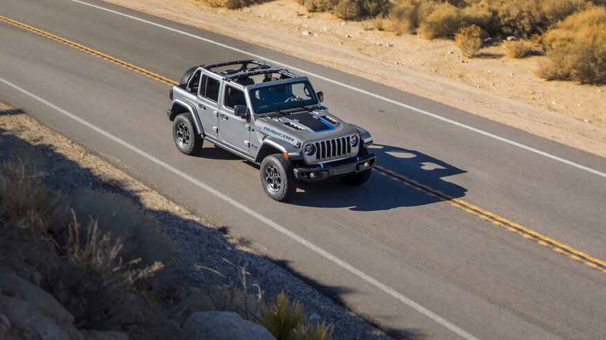 2021 Jeep Wrangler 4xe driving on road