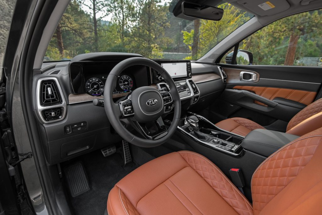A close-up look at the red and black interior of the 2021 Kia Sorento X-Line