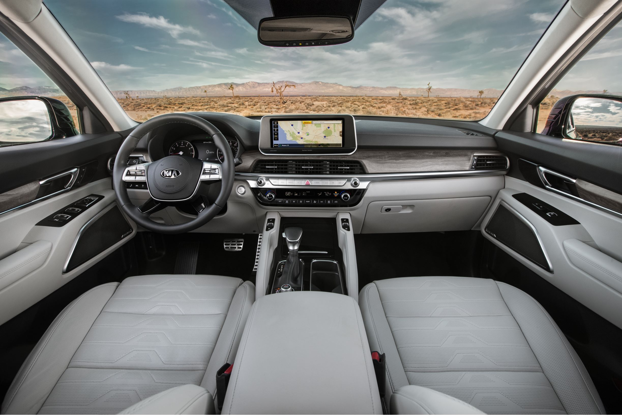 Inside the Kia Telluride cabin with a view of the dash display navigation