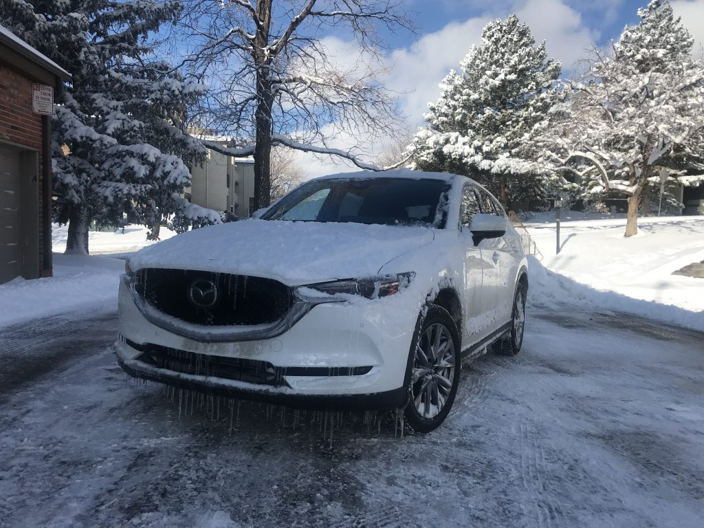2021 Mazda CX-5 in the snow the day after a snowfall