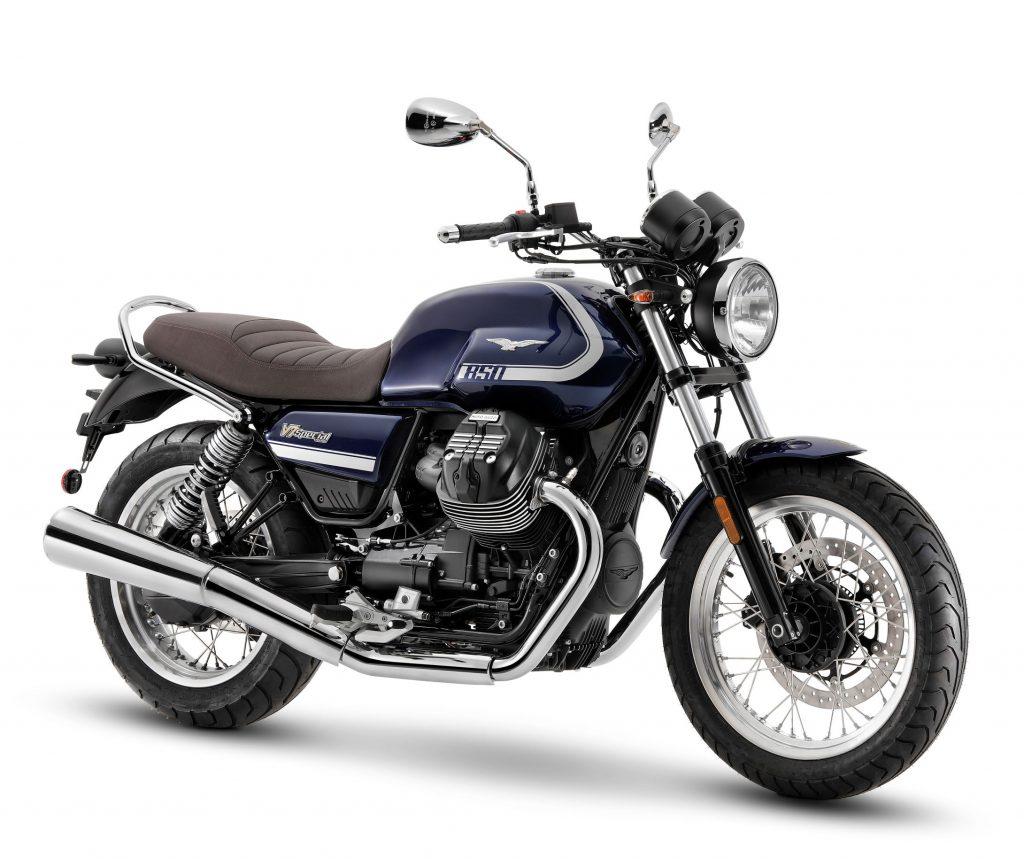 A blue-and-silver 2021 Moto Guzzi V7 Special