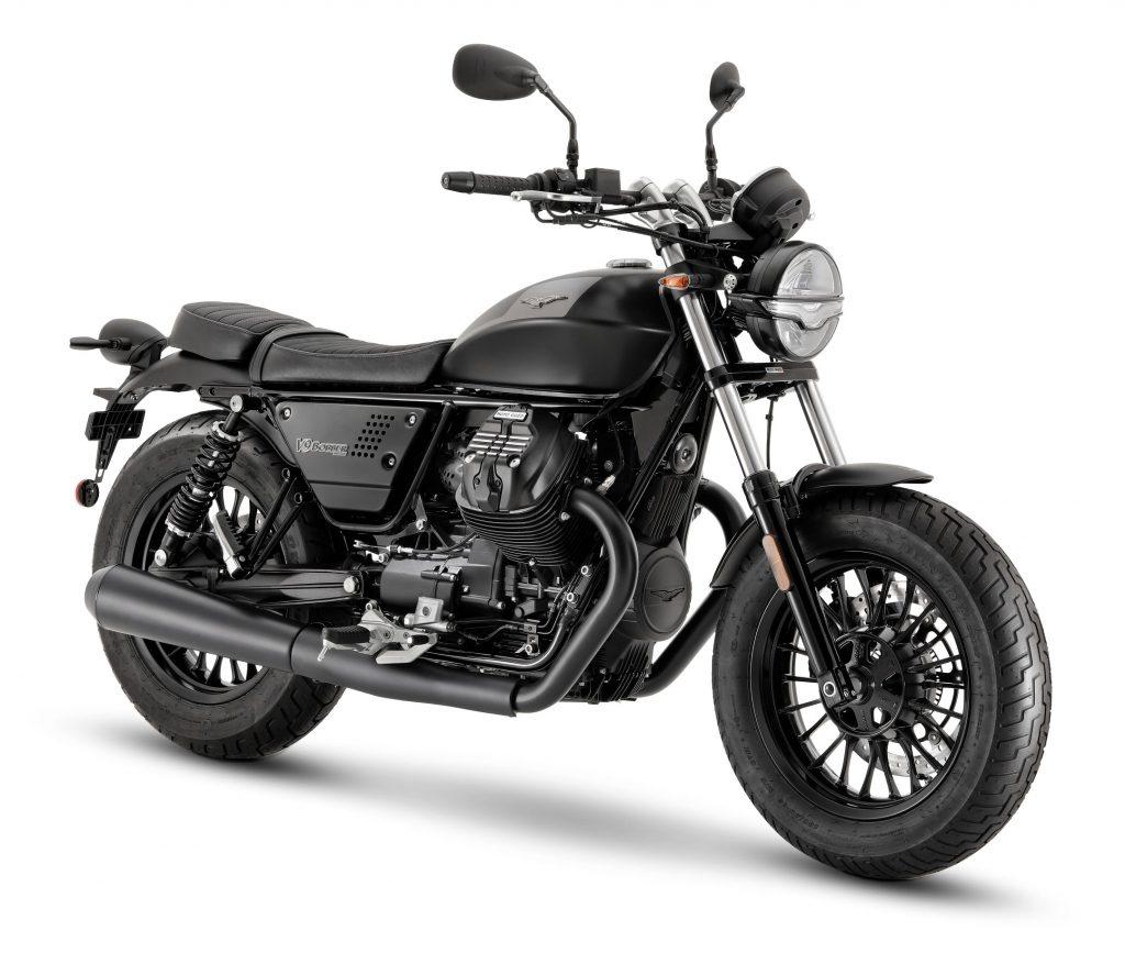 A black 2021 Moto Guzzi V9 Bobber
