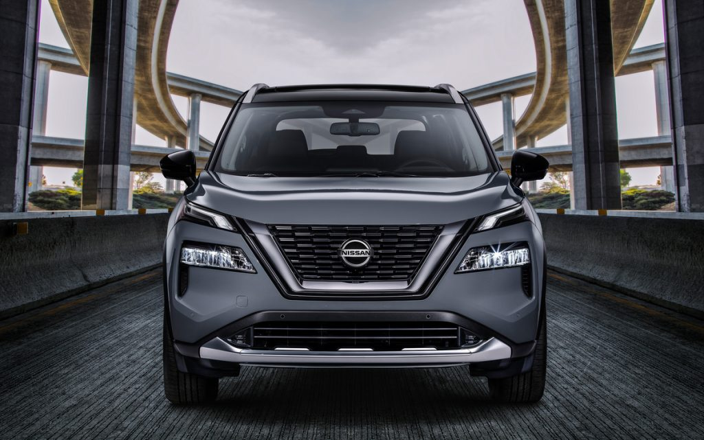 A front view of the dark gray 2021 Nissan Rogue Platinum AWD