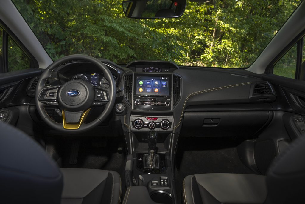 A look at the black interior of the 2021 Subaru Crosstrek Sport
