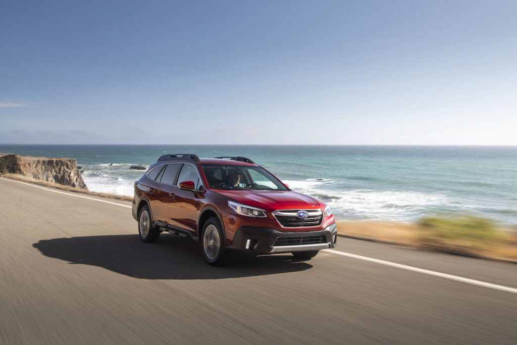 The 2021 Subaru Outback driving