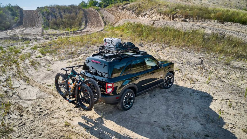 2021 Ford Bronco Sport in a feild wearing the new Bike themed accessories bundle