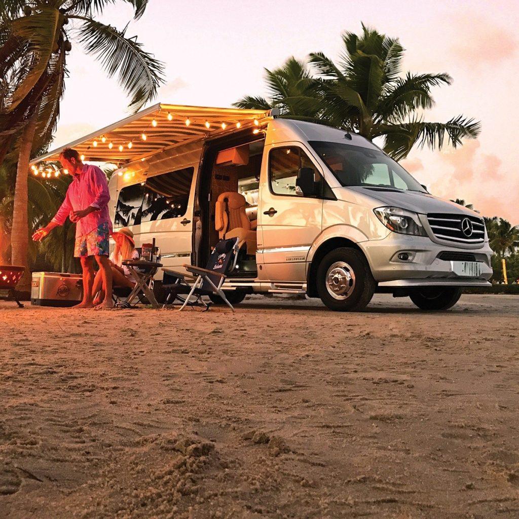 2021 Tommy Bahama Airstream van opened up camping