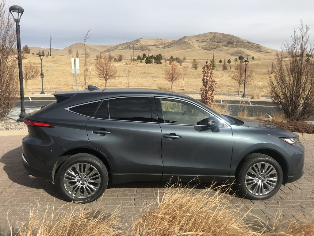 a side shot of the gray 2021 Toyota Venza Limited