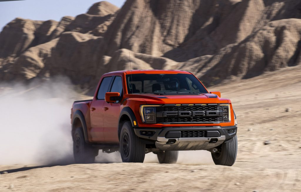 An image of the 2021 Ford F-150 Raptor in the desert.