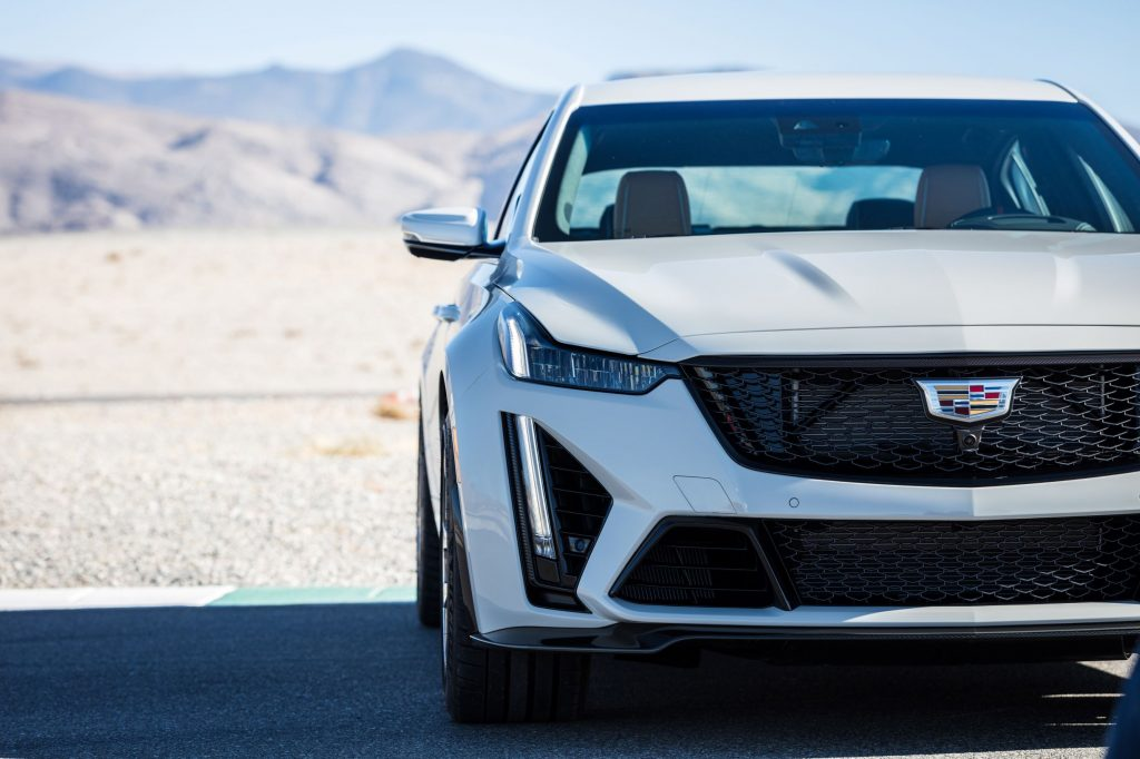 The front view of a white 2022 Cadillac CT5-V Blackwing in the desert