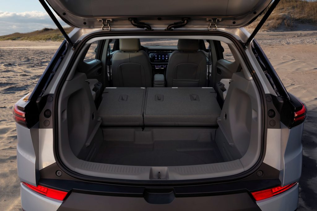 The rear view of the 2022 Chevrolet Bolt EUV's interior with the rear seats folded