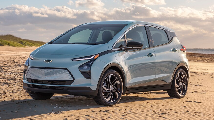 The 2022 Chevy Bolt EUV parked in sand