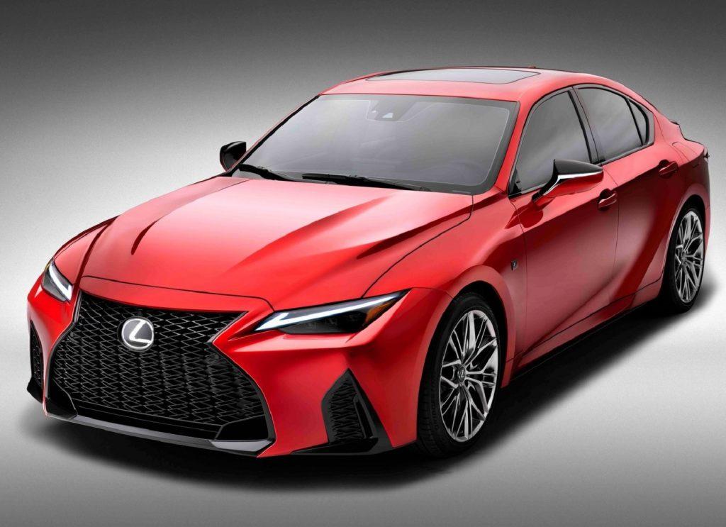 A red 2022 Lexus IS 500 F Sport Performance sedan