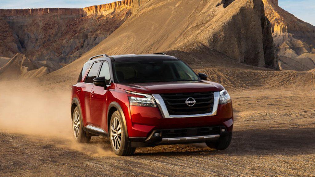 2022 Nissan Pathfinder driving in sand