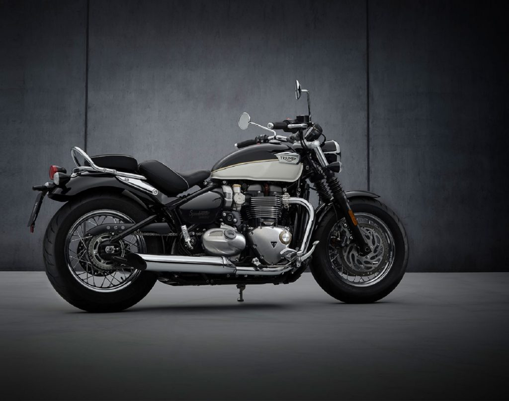The side 3/4 view of a black-and-white 2022 Triumph Bonneville Speedmaster