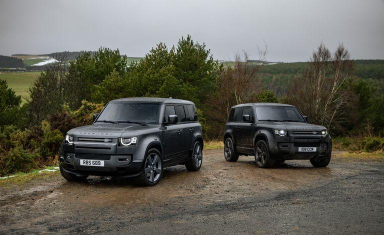 2022 Land Rover Defender V8 models. Four-door 110 and two-door-90