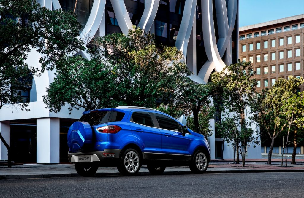 2021 Ford Ecosport parked on a tree lined street