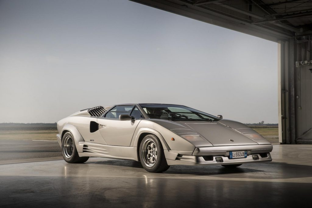 An image of a Lamborghini Countach Anniversary parked outdoors.