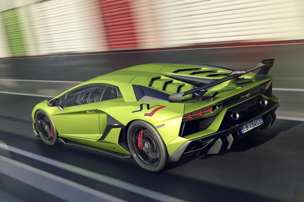 An image of a Lamborghini Aventador SVJ on track.