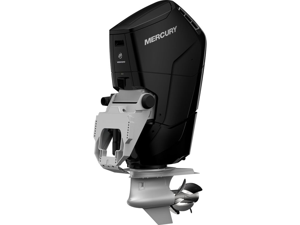 a press photo of a black V12 Verado outboard motor against a white backdrop