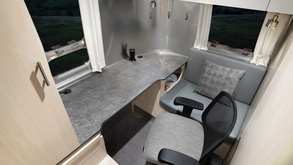 The Airstream Flying Cloud Office desk area
