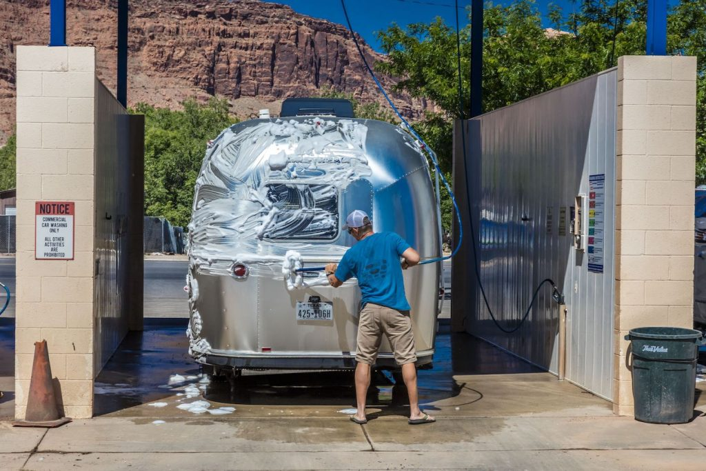 Airstream Trailer at car wash being cleaned in Moab, Utah