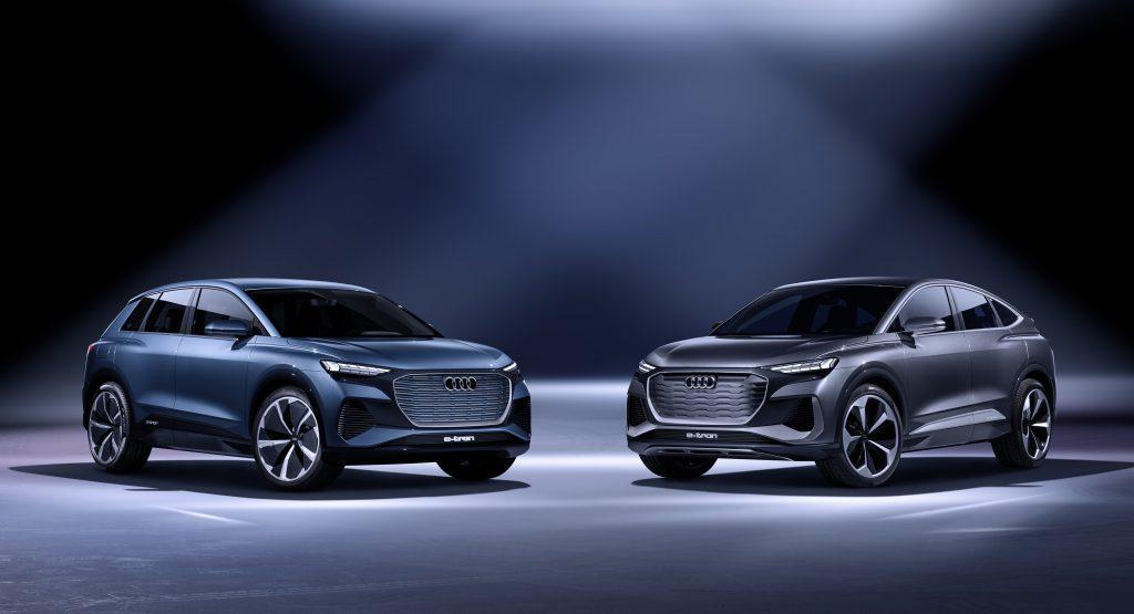 A Audi Q4 e-tron concept and Audi Q4 Sportback e-tron concept share the stage