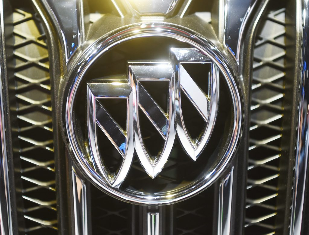 The Buick logo on a vehicle's grille