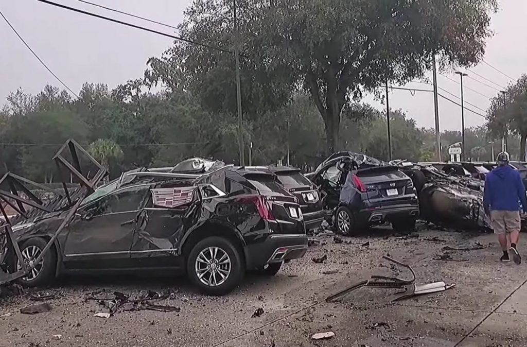 Row of Cadillac XT4s and XT5s got destroyed by Florida man street racing.
