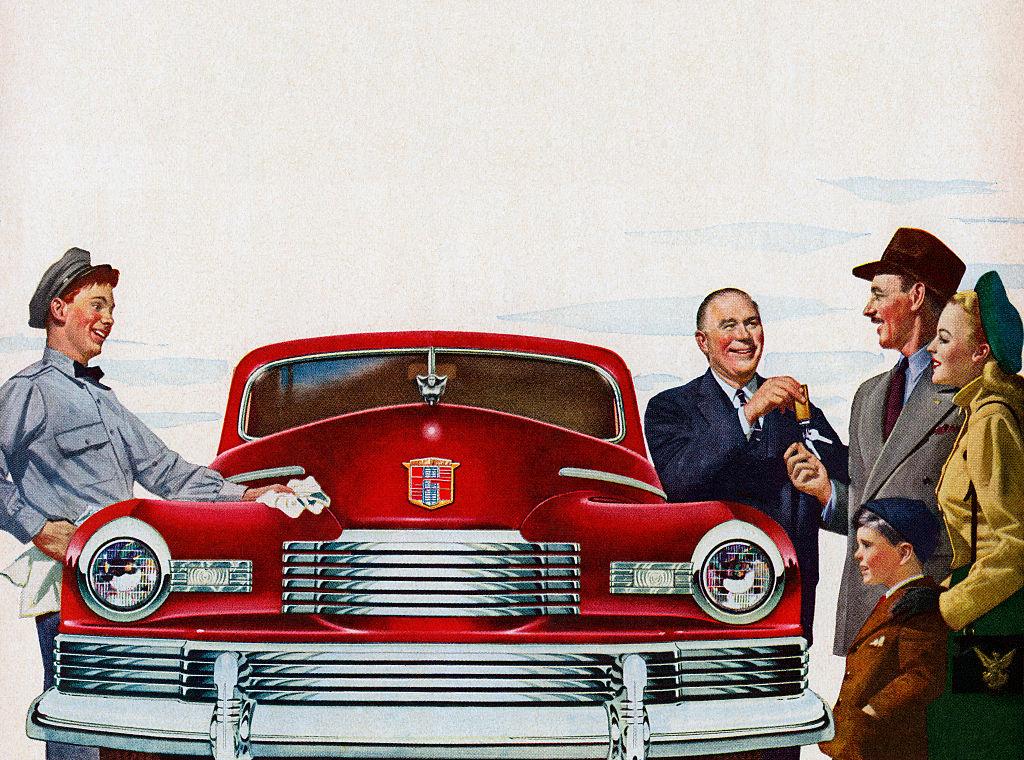 Nash illustration of salesman handing keys over to new owner