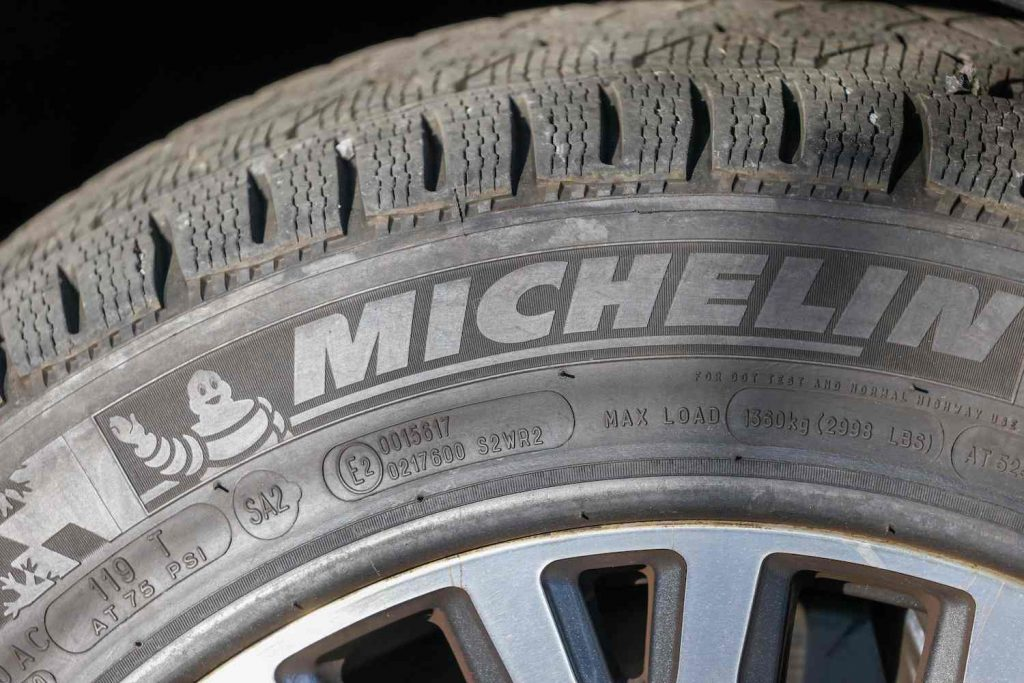A close-up photo of a Michelin tire.