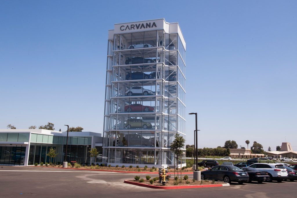 A photo of an eight-story car vending machine operated by the online used car dealer Carvana
