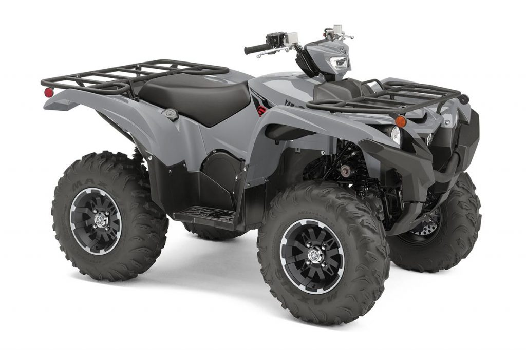 a press photo of a gray yamaha grizzly against a white backdrop