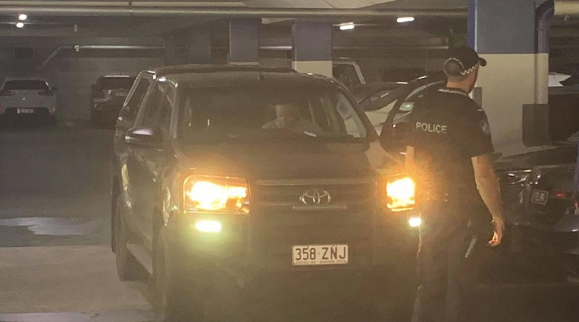 Police at Mount Pleasant Centre indoor carpark after a reported carjacking of the stolen TOyota land cruiser