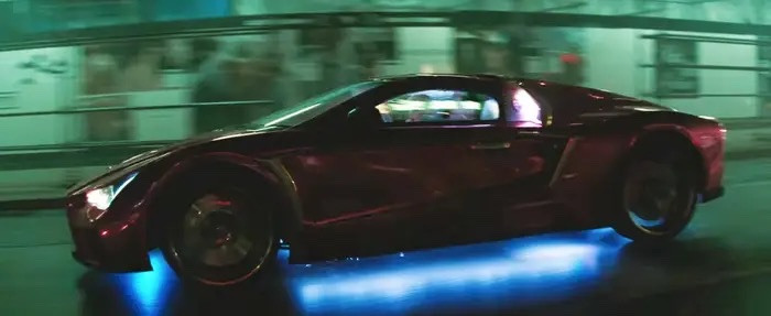 a side shot of the purple Vaydor at speed in the DC Comics film suicide squad